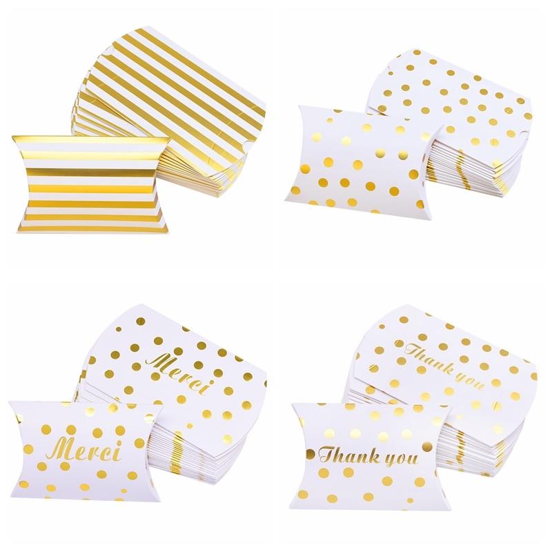 Caja dorada de 10/20 Uds con forma de almohada, caja de dulces, caja de regalo para galletas, caja de regalo para bodas, niños, suministros de decoración para fiesta de cumpleaños