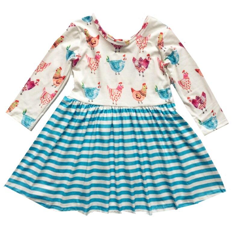 2020 kinder Neue Stil Thanksgiving Mädchen Kleid Baby Kinder Kleidung Drucken Patchwork Streifen Muster Mädchen Langarm Party Kleid