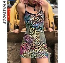 BOOFEENAA Multicolor Print Mesh Bodycon Dress Sexy Club Wear Harajuku Womens Dresses See Through Sling Mini Dress C80-G87