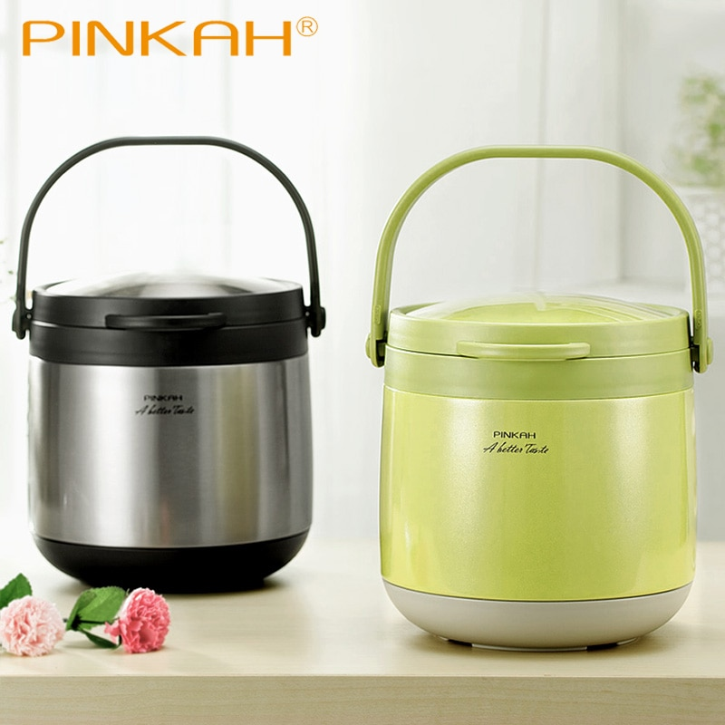 3L& 4.5L Vacuum Thermo Food Jar Keep Hot 24 Hours Insulation Lunch Box No Electricity Vacuum Cooking 304 Stainless Steel