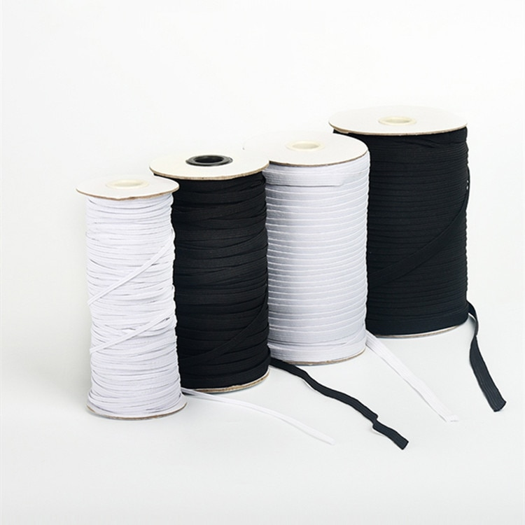 1 rolo de cinto elástico diy máscara gancho elástico faixa 3/5/7/9mm largura tecido costura elástica borracha acessórios de costura