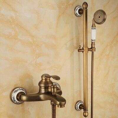 مجموعة خلاط دش نحاسية عتيقة ، مثبتة على الحائط ، ذراع واحد ، مجموعة صنبور مياه torneira chuveiro ducha
