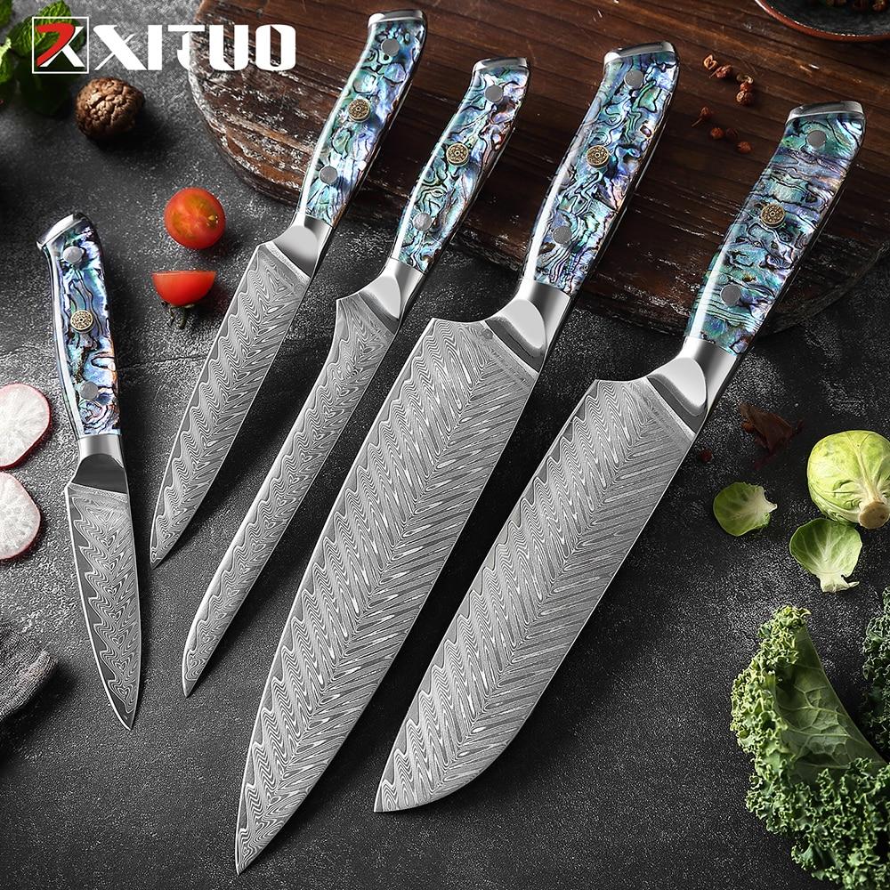 XITUO سكين دمشق الصلب مجموعة 1-5 قطعة أدوات مطبخ سكين الطاهي اليابانية Santoku السكاكين سكين نزع العظم مقبض قذيفة رائعة جديد