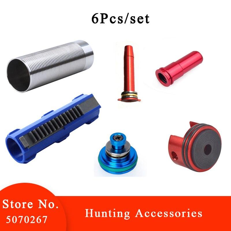 Juego de 6 unidades, elementos con pistón con 14 dientes, versión AEG, 2 CNC, boquilla de aire de un solo anillo de aluminio para arma táctica Airsoft serie M4