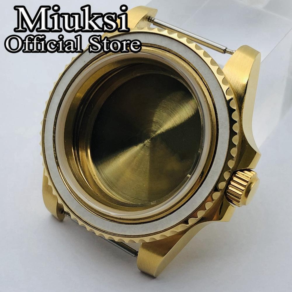 Miuksi 40mm oro Acero inoxidable zafiro caso de cristal para ETA2836 Mingzhu DG2813 3804 Miyota821A 8205 8215 Seagull 1612 movimiento