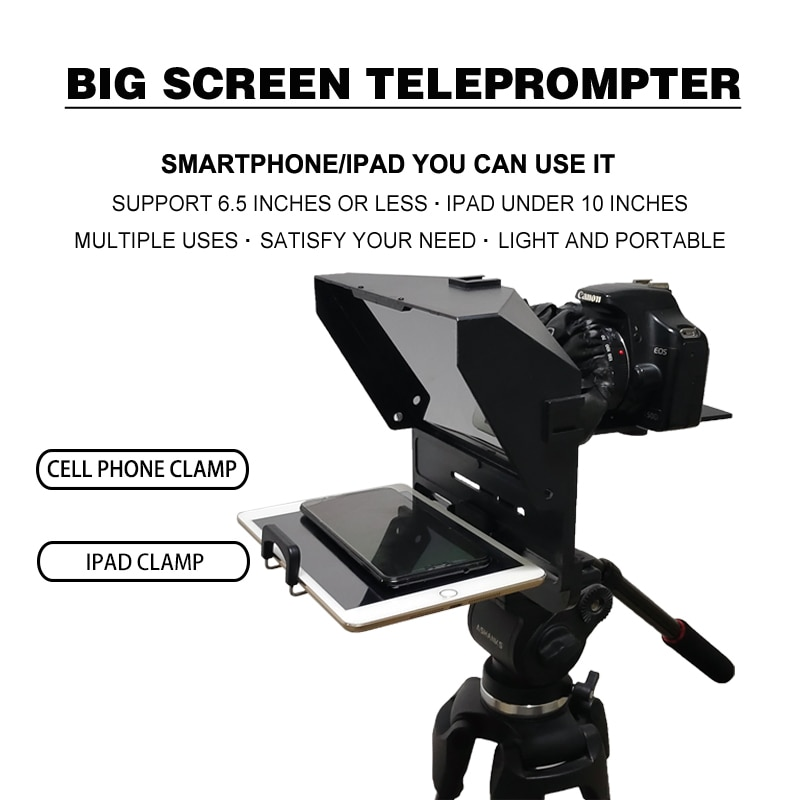 Portable Tablet Teleprompter for Smartphone Ipad DSLR Camera Recording Live Broadcast With Remote Control enlarge