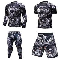 mens mma compression sportswear boxing muay thai shirt gym fitness tights shorts clothes running sports set workout tracksuit