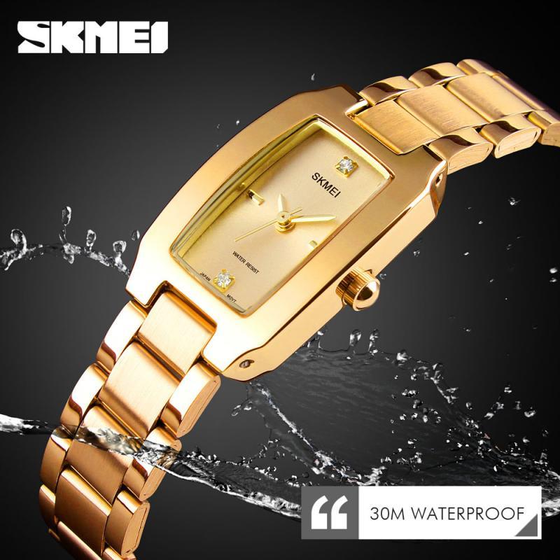 SKMEI Ladies Quartz Watch Fashion Thin Watches Casual Dress Luxury Silver Ladies Rhinestone Waterproof Relogio Feminino 1400 enlarge