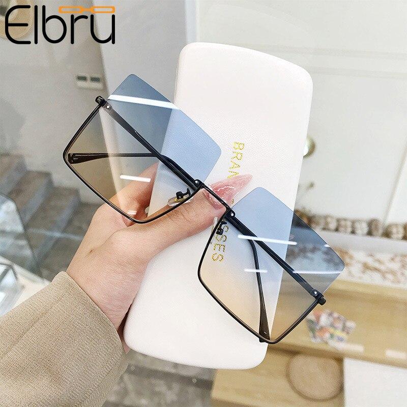 Elbru новые модные женские оверсайз в полуоправе металлические Квадратные Солнцезащитные очки женские роскошные очки Солнцезащитные очки женские солнцезащитные очки Женские солнцезащитные очки      АлиЭкспресс