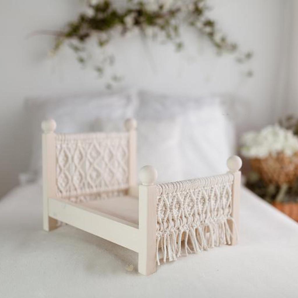 Props Baby Crib White Detachable Mini Bed Hanmade Furniture for Studio Home