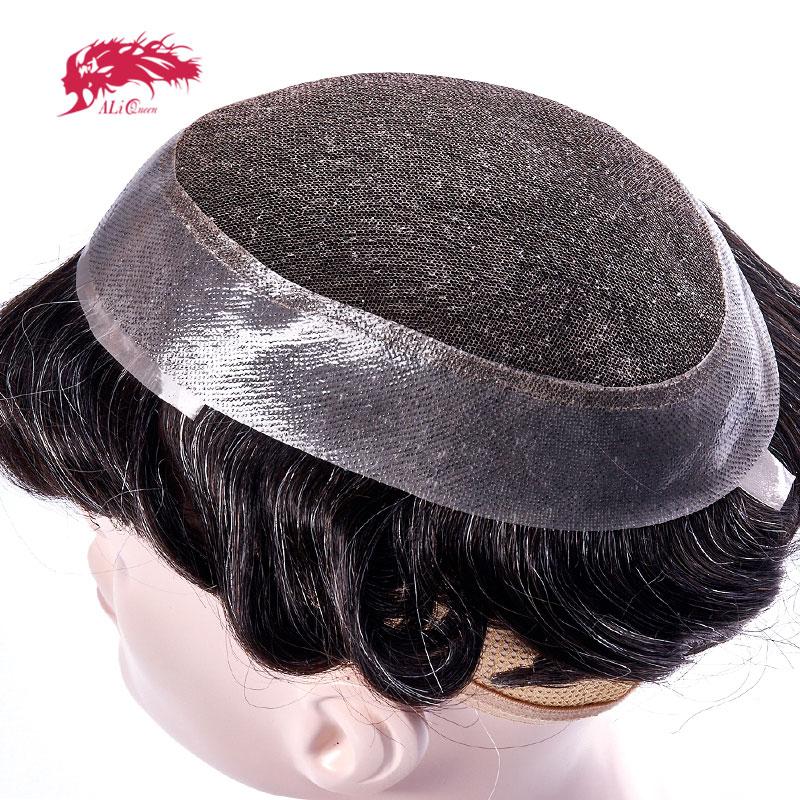 Cabello de Reina Ali, encaje suizo y tupé de poliuretano, sistemas de repuesto hechos a mano, peluquín para hombres, peluca 100% cabello humano Natural Remy indio