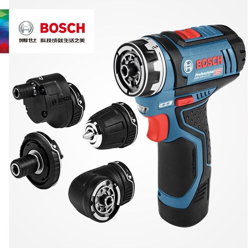Электрическая дрель Bosch, профессиональная беспроводная дрель, 12 В GSR 12V-15 FC, с 4 адаптерами FlexiClick, электроинструмент