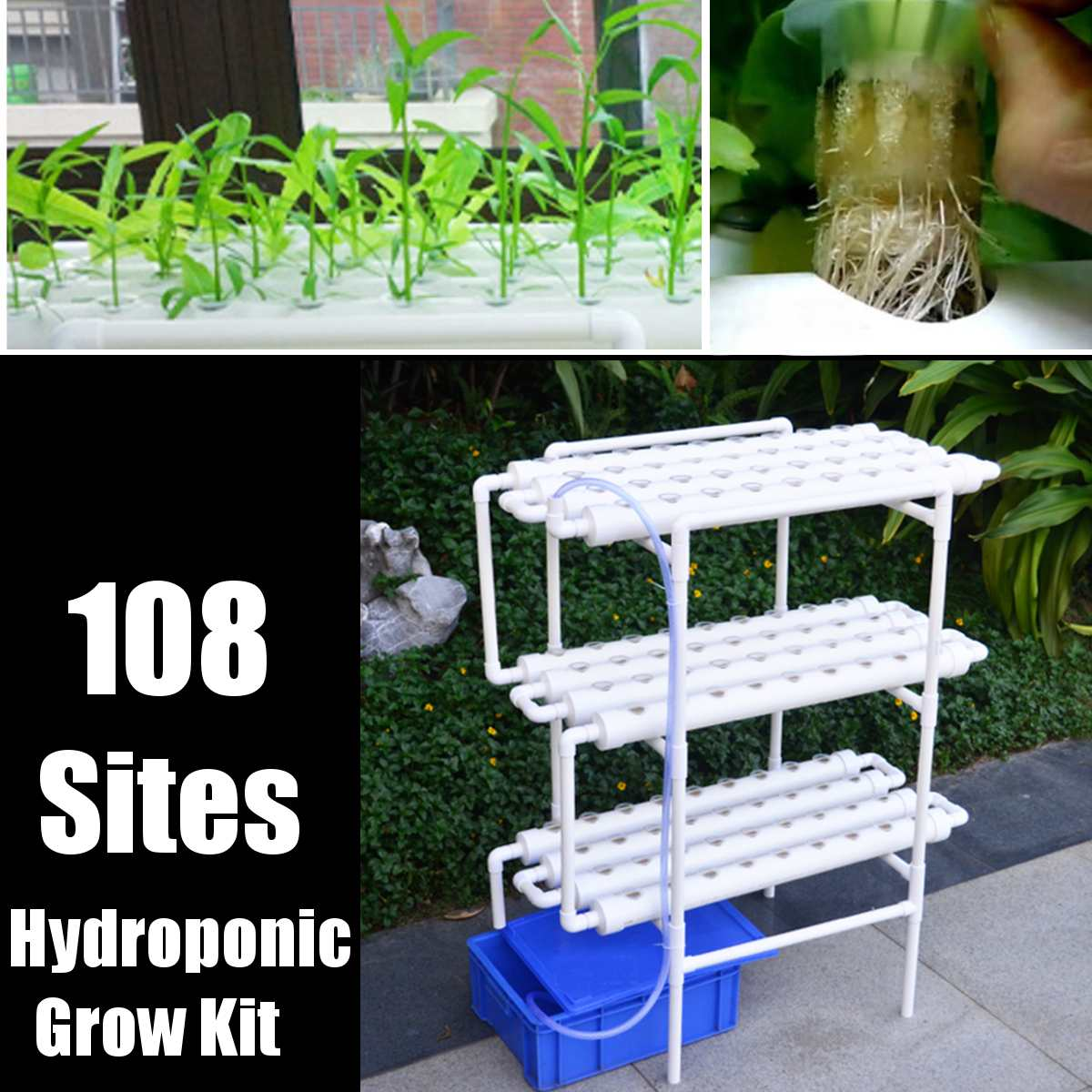 112 قطعة/مجموعة 220 فولت النباتات أنظمة المزارع المائية تنمو عدة 108 ثقوب الحضانة الأواني مكافحة الآفات Soilless زراعة حديقة داخلية ثقافة Pl