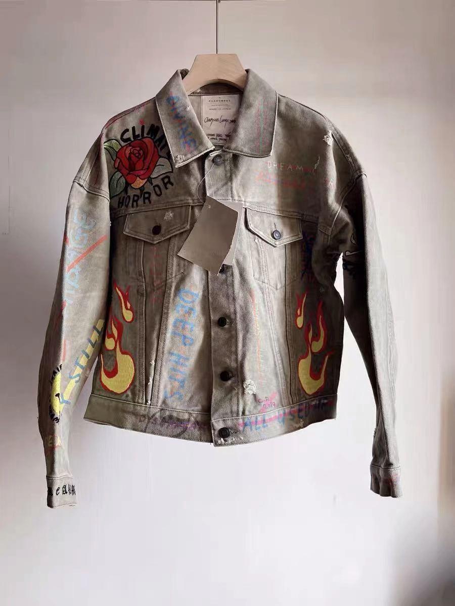 Readymade Denim Jacket Men Women High Quality Flame Graffiti Rose Smiley Embroidery Vintage Wash splicing Cloth Work Jacket