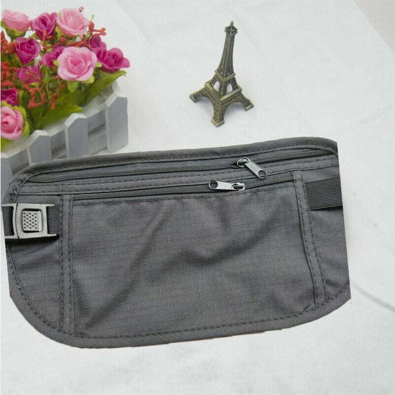 Cinturón de dinero de perfil fino, bolsas de cintura de viaje seguras, cartera oculta de bloqueo, bolsa de pasaporte antirrobo, riñonera