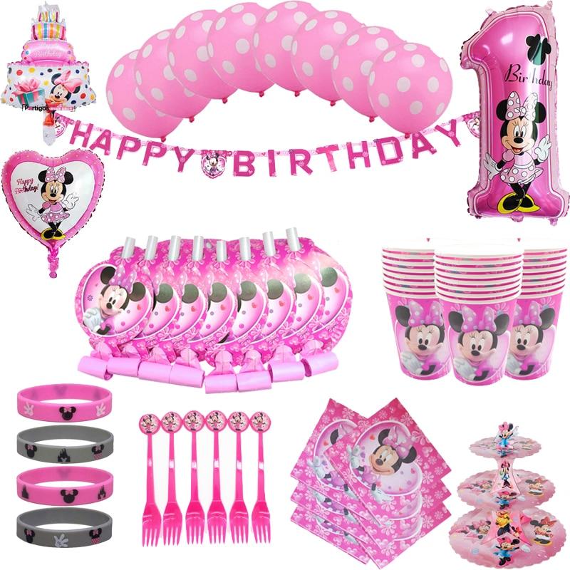 AliExpress - Disney Minnie Mouse Theme Kids Girl Birthday Party girl favor birthday party decor birthday Disposable tableware balloon set