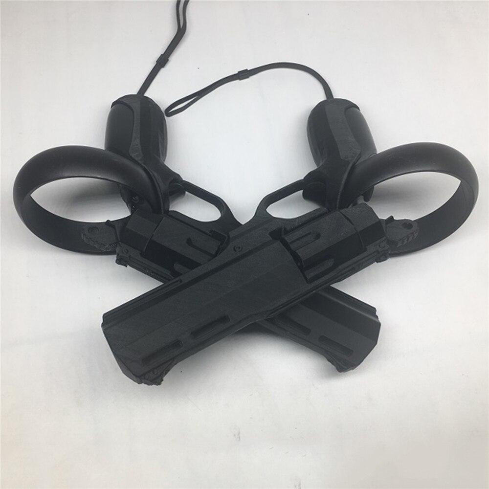 1 par de pistolas de caza de juego VR Revolver izquierdo y derecho modelo para disparar arma para Oculus Quest / Rift S VR auriculares táctiles agarres para el mando