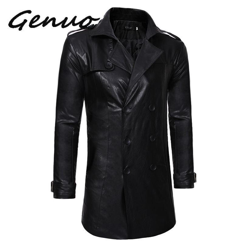 Genuo חדש עור Jaket גברים חדש אופנה פופולרי שחור בינוני אורך אביב מעילי Mens מזדמן רכיסה כפולה אופנוע מעיל