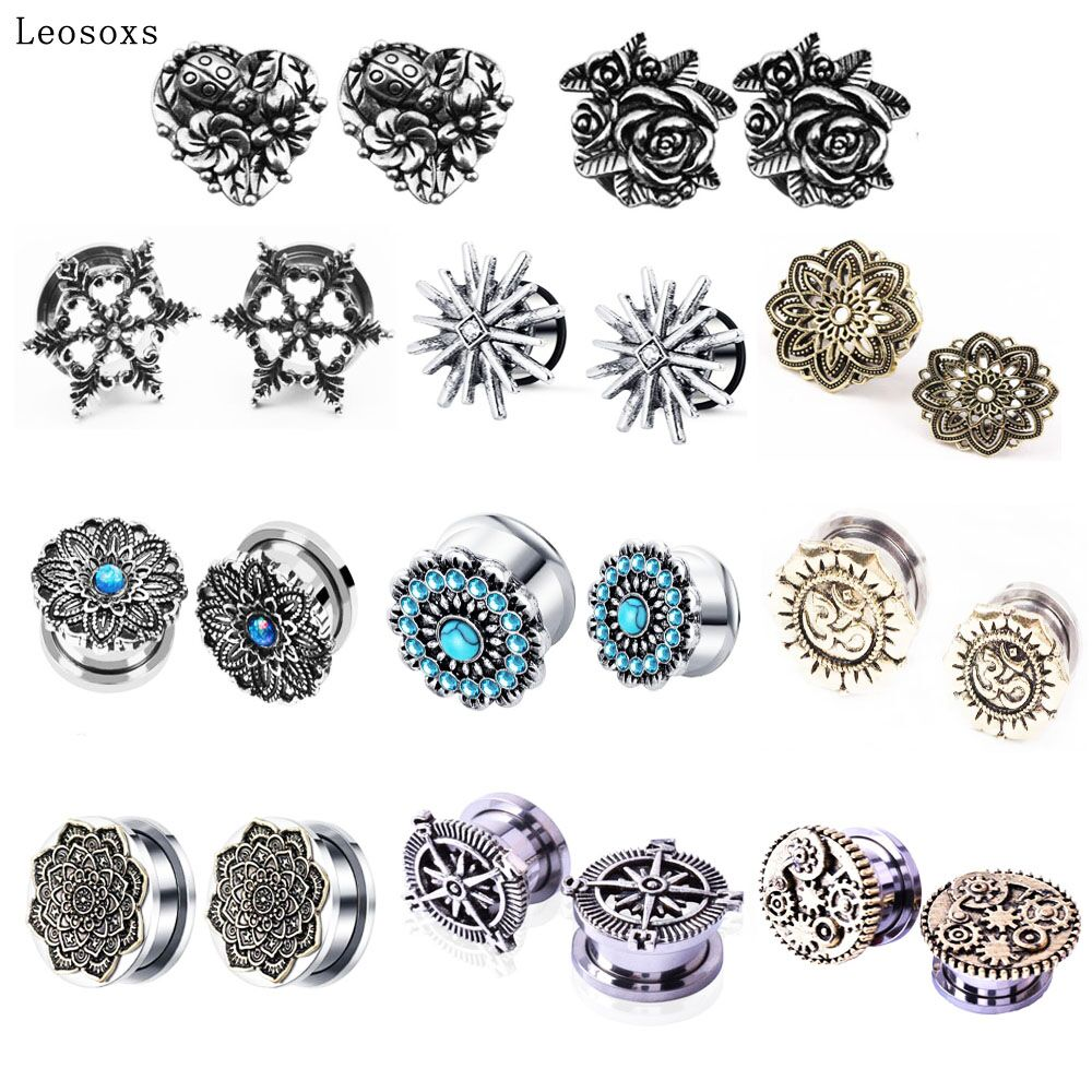 aliexpress.com - Leosoxs 1pc Jewelry 5-20mm Hot Sale New Retro Auricle Stainless Steel Pulley Ear Expansion Earplugs Body Piercing Jewelry