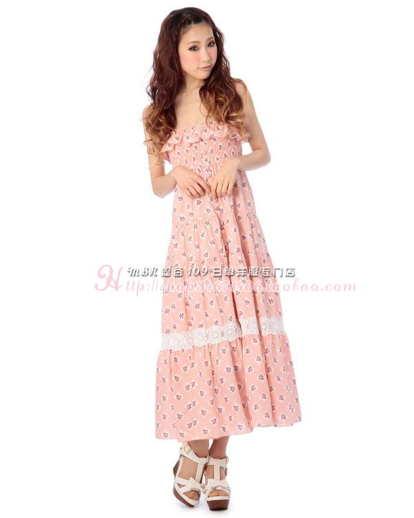 Liz lisa Flor de impresión de algodón de encaje longuette Sling falda