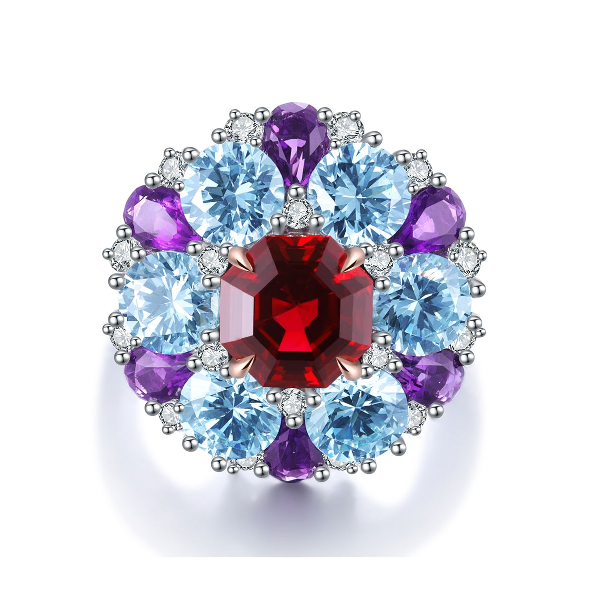 Trendy Fashion Golden Jewelry High Quality Lab Created Pigeon Blood Ruby Gold Rings For Women
