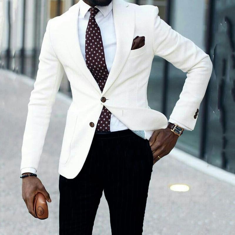 الأبيض الأعمال العريس البدلات لل زفاف ملابس رجالي تلائم الرجل النحيف الدعاوى الذكور موضة بلازير العريس ارتداء 2 قطعة معطف مع السراويل