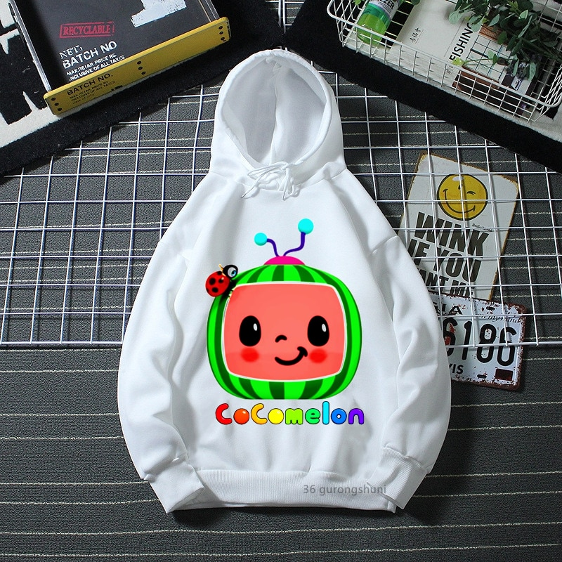 Funny kids hoodie cartoon rainbow watermelon ladybug print boys/ girls kawaii kids sweatshirt winter white long-sleeved hoodie girls rainbow print sweatshirt