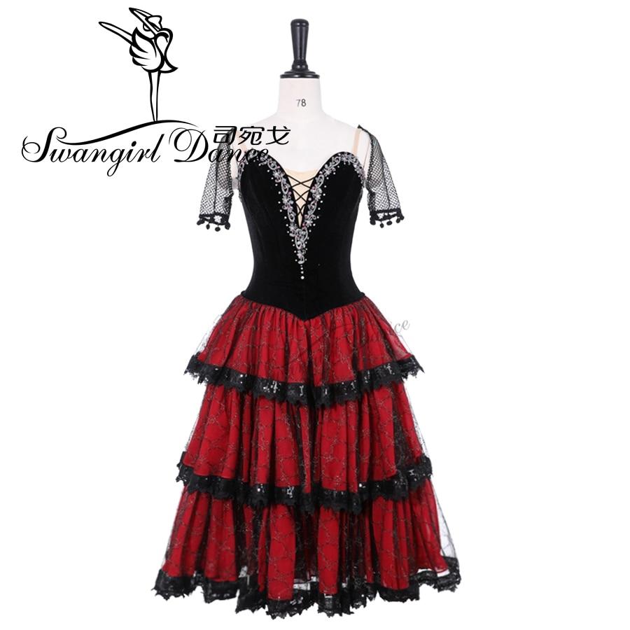 Short Sleeve Professional Ballet Costumes Black Red Ballet Long Tutu Dress Spanish Kitri Romantic Tutu Don Quixote Variation9500