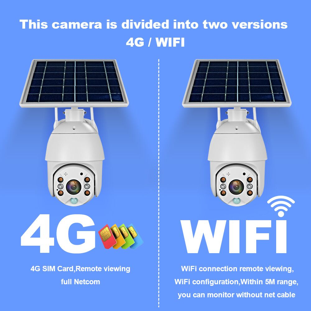 Luz negra 4G Solar Recharge IP PTZ cámaras P2P nube almacenamiento a todo color IR visión 4g wifi solar cámara ip PTZ con RADAR PIR