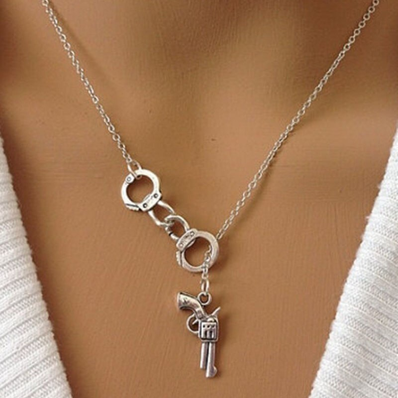 Abayabay algemas colares amantes jóias na moda pistola menina cor de prata colar do vintage corrente feminina collar