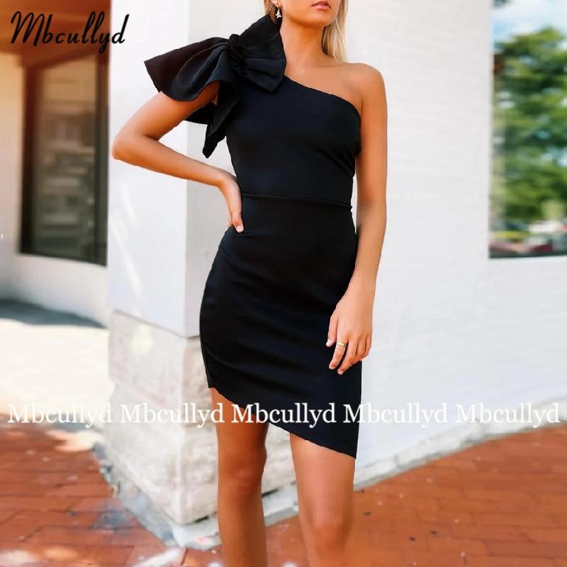 Black Tea Length Cocktail Party Dress 2021 Sheath One Shoulder Evening Gowns Red Simple Short Graduation Dresses