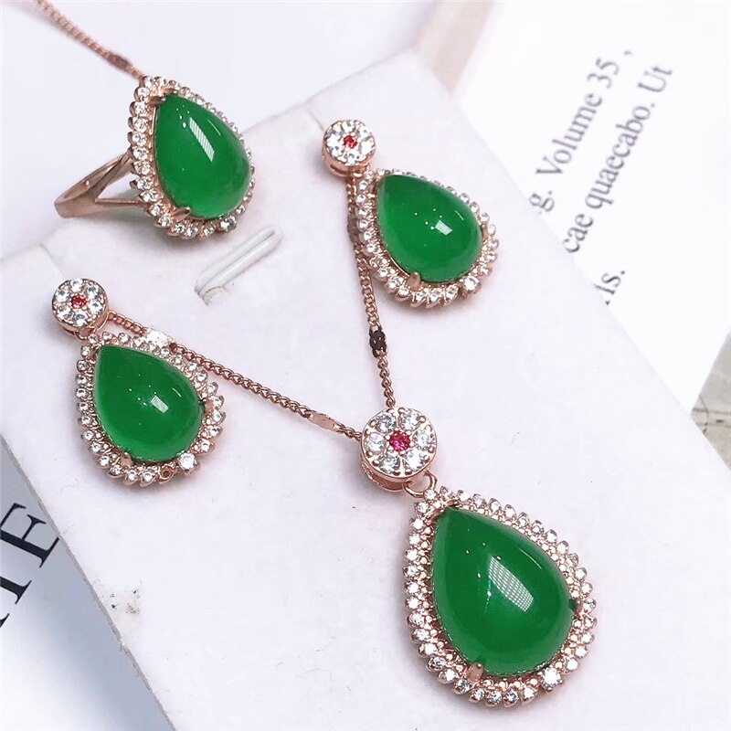 Classic Luxury 925 Sterling Silver Jewelry Sets For Women Natural Green Jade Zircon Necklace Earrings Ring Jewelry New
