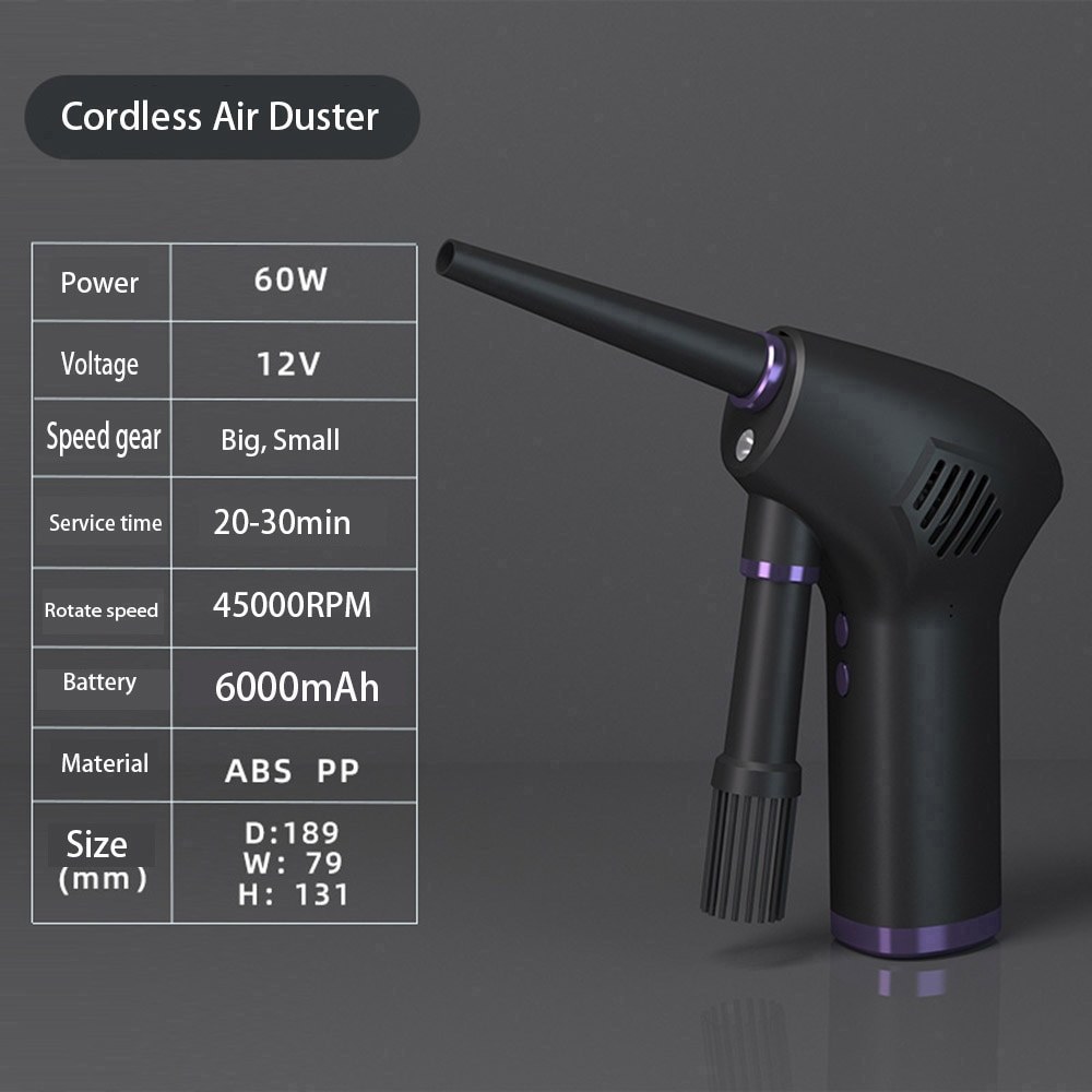 Cordless Air Duster Compressed Air Blower Electric Air Duster for Computer keyboard Camera Cleaning Small Appliances