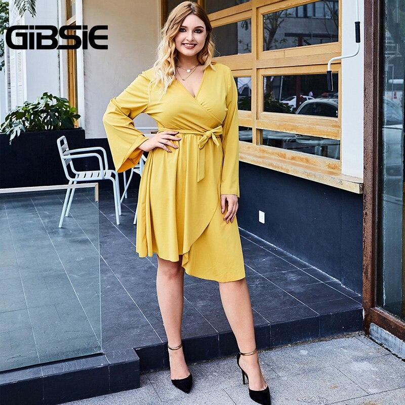 GIBSIE Plus Size Office Lady Wrap Dress Spring Women Sexy Belt Midi Dresses V-Neck Long Sleeve High Waist Asymmetrical Dress