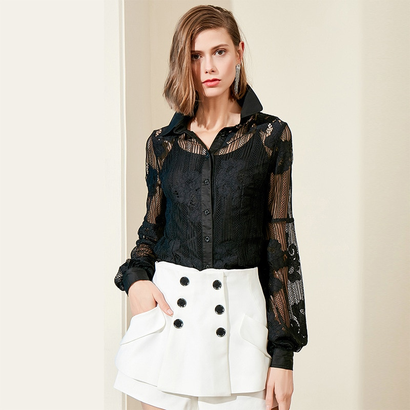 Camisole Two-Piece Set Ozhouzhan Embroidery Flowers Lace Joint Slim Fit Slimming Lantern Long Sleeve LADYS Shirt