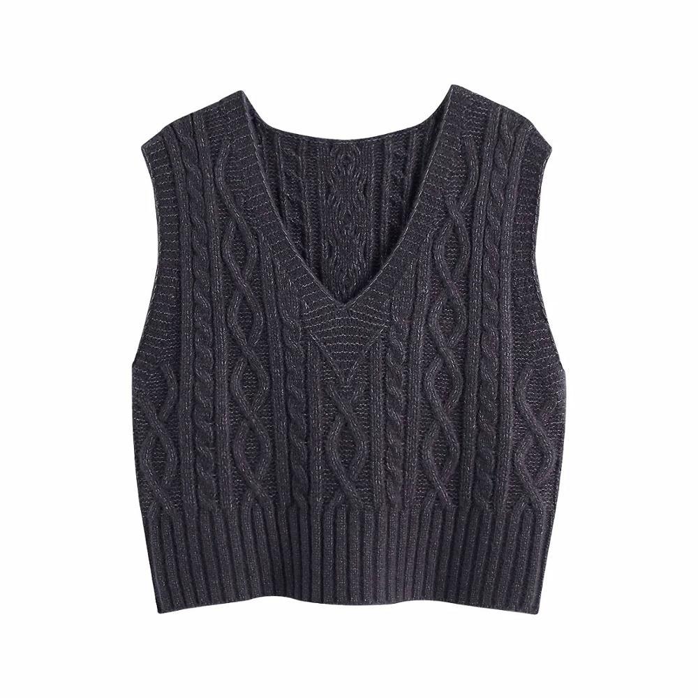 Женский вязаный жилет с V образным вырезом, теплый повседневный пуловер в винтажном стиле, Осень зима 2020