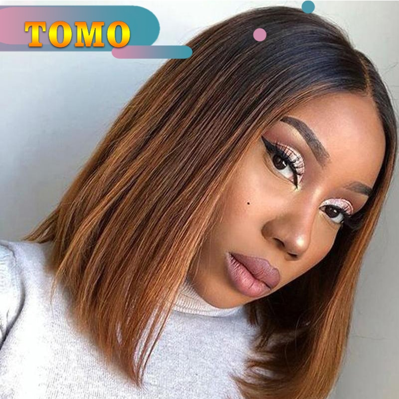 Tomo 14 inch Silky Straight Short Bob Wigs Skin Top Made Synthetic Ombre Wig For Female Heat Resistant Hair Black Brown