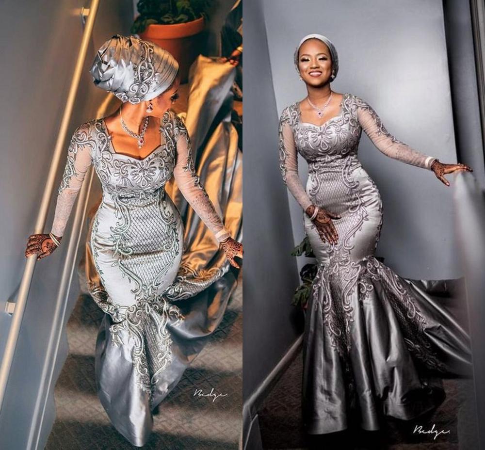 Argent luxe sirène robes de mariée 2020 moderne africain nigérian Aso Ebi dentelle Applique à manches longues mariée Temple robe de mariée