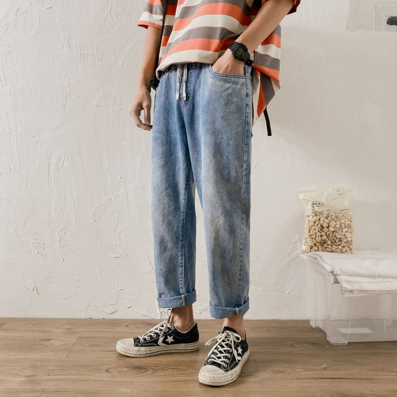 Spring Summer Drawstring Jeans Men's Fashion Casual Retro Harajuku Jeans Men Streetwear Hip-hop Straight Denim Trousers Mens