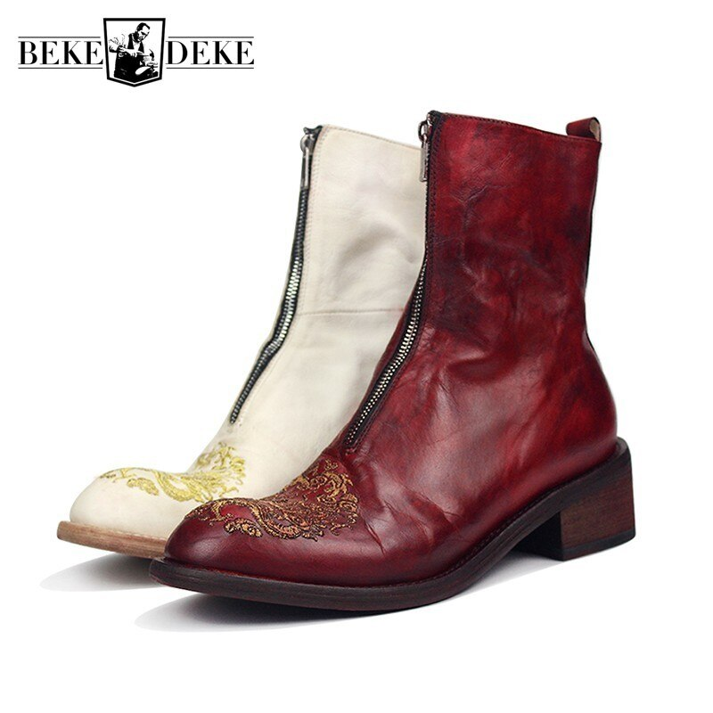 أحذية ركوب جلدية أصلية للرجال ، أحذية فاخرة عالية الكعب ، تصميم تنين ، تطريز يدوي ، أحذية فارس