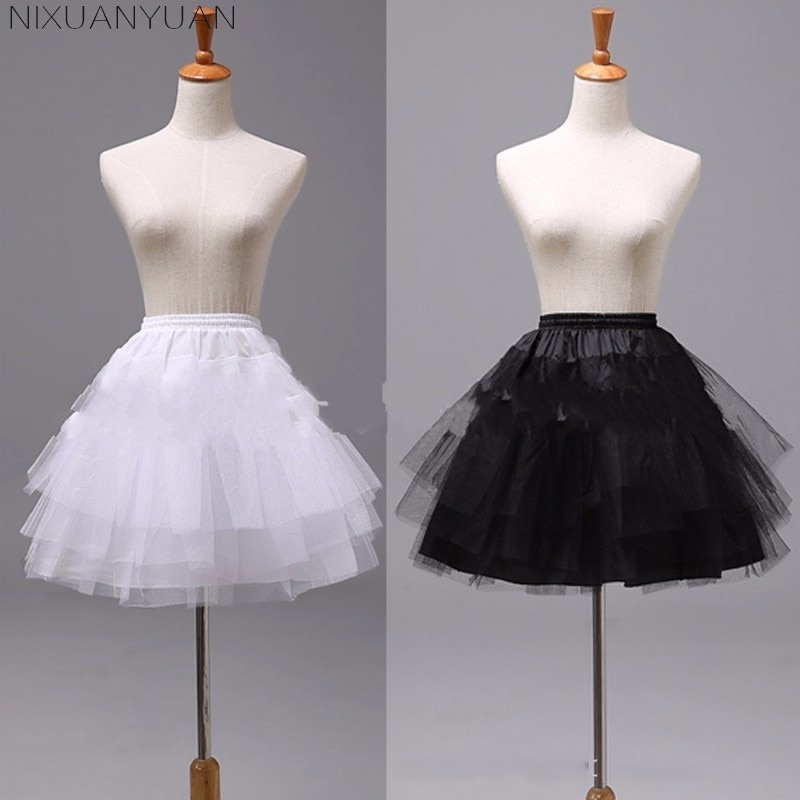 NIXUANYUAN White or Black Short Petticoats 2021 Women A Line 3 Layers Underskirt For Wedding Dress jupon cerceau mariage