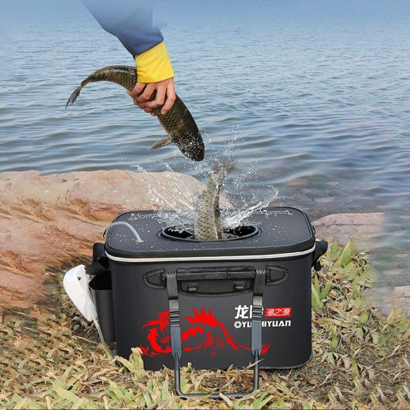 Caja de pesca plegable gruesa en vivo, Cubo de tanque, bolsa de pesca EVA, bolsa de pesca portátil para Camping, equipo de pesca, bolsa de almacenamiento