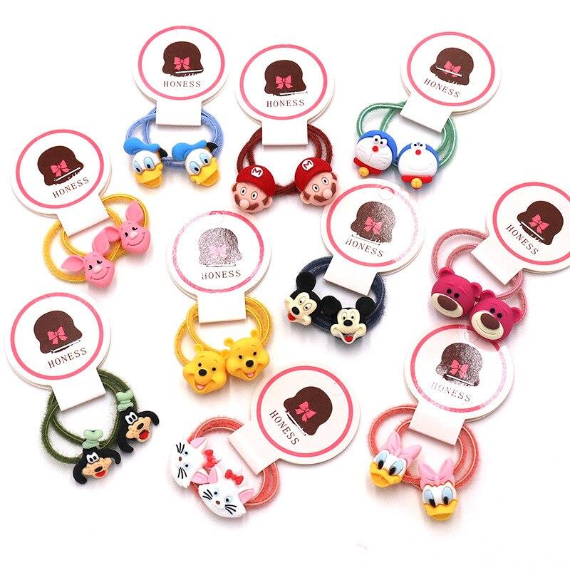 2PCS New Cute Animal Duck Bear Little Girls Cartoon Elastic Hair Bands Ponytail Holder Scrunchies Hair Tie Rope Baby Accessories