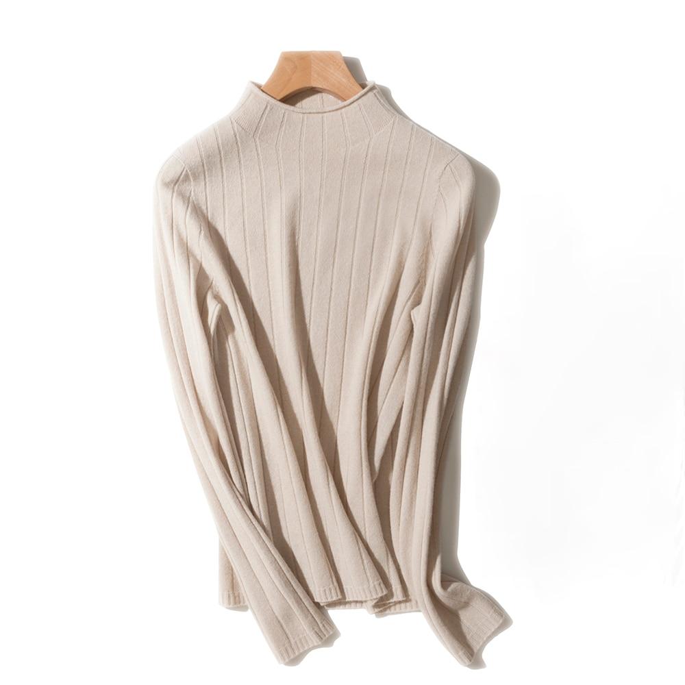 100% Wool 2021 Fall Winter Women's Seamless One-Piece Mock Collar Long Sleeve Pullover Cardigan enlarge