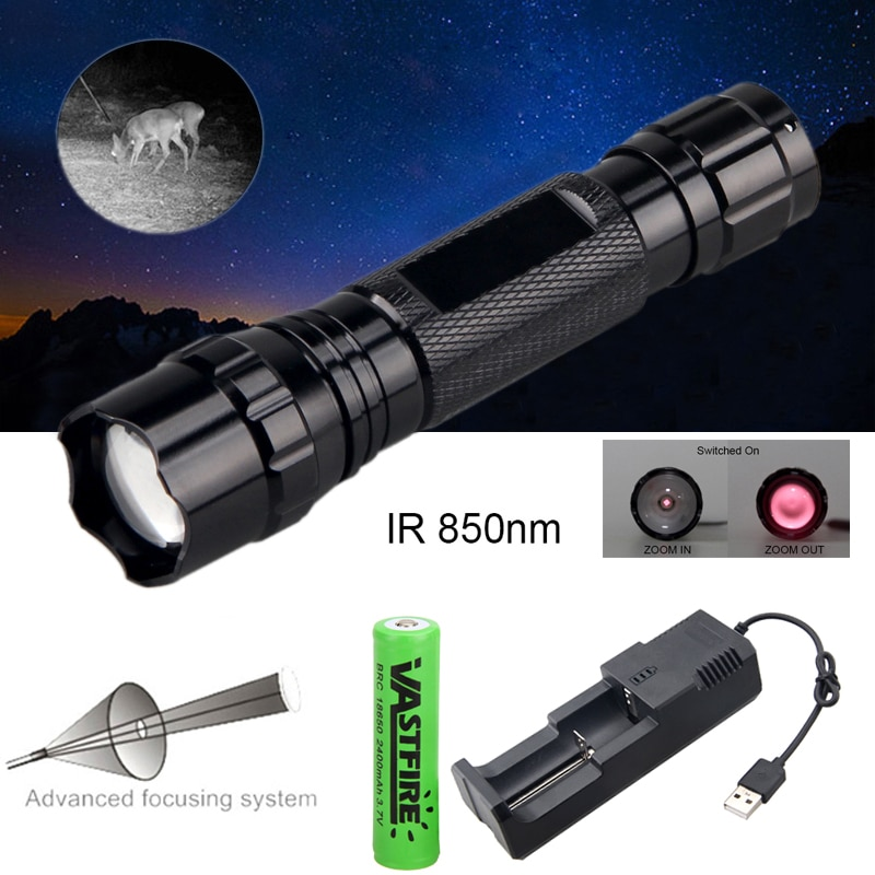 5W IR850NM Professional Night Vision Hunting Torch Tactical Infrared Radiation IR Zoomable Outdoor Waterproof Hunting Flashlight 10w ir 940nm infrared night vision hunting flashlight led outdoor tactical weapon torch 18650 charger 3 rifle scope mount switch
