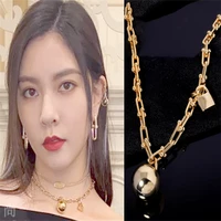 song yuxi with the european and american sweater chains boasting chain stylus metal sphere crude necklace