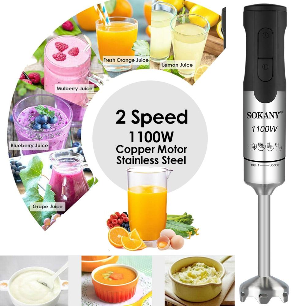 Licuadora eléctrica de acero inoxidable de 1100W y 2 velocidades, batidora portátil de mano para Mezclador de alimentos, zumos, frutas, verduras