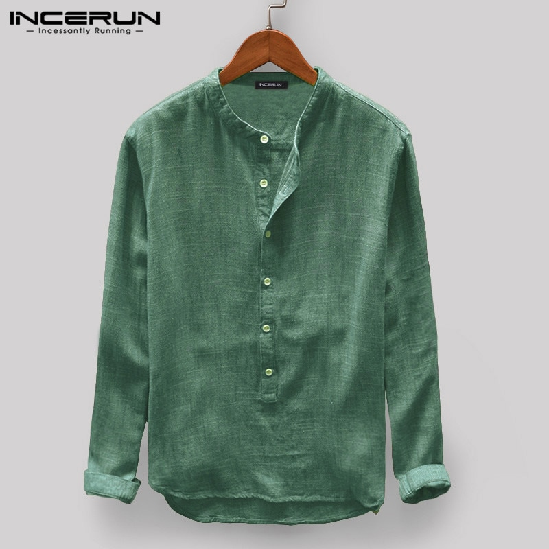 Camiseta informal para hombre INCERUN, cuello levantado, manga larga, Jersey, botón de ocio, camisas básicas japonesas para hombre, Camisa Harajuku 2020