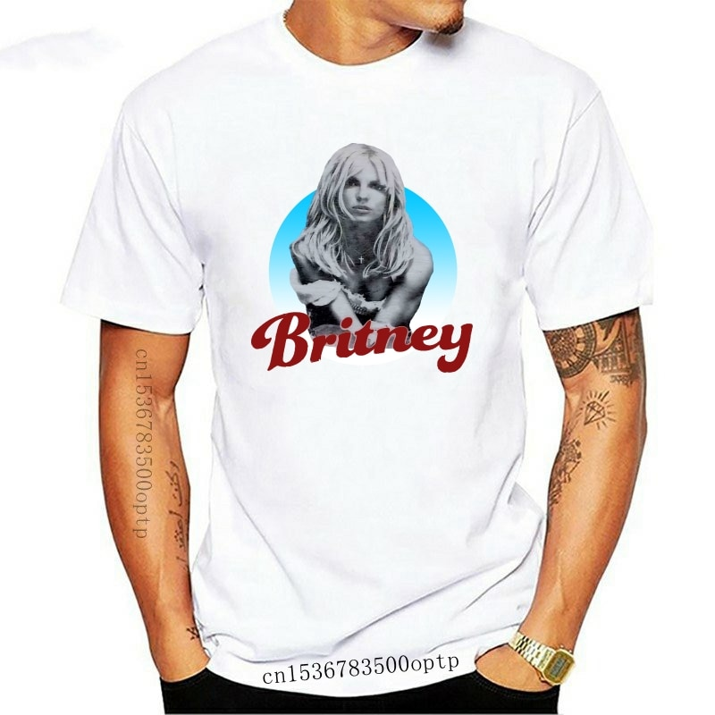 New Britney Spears 2001 Album Cover Athleticer Fit Flex T Shirt White men Short Casual Cotton tshirt men