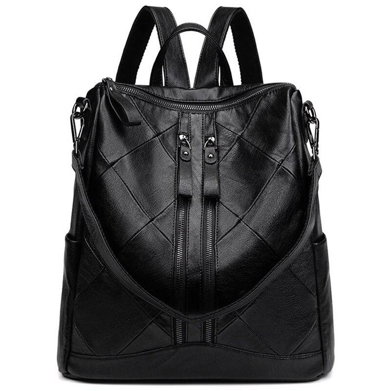 حقيبة ظهر من الجلد الأصلي مضادة للسرقة مع جيب بسحاب ، حقيبة مدرسية سوداء عصرية ، حقيبة سفر للسيدات